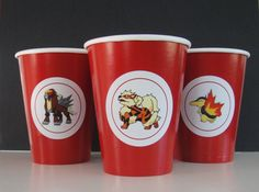 "Pokemon Labels - 2"" Round.  20/sheet with 20 different Fire Type Pokemons.  Great for napkin rings, coffee cups, hat decorations....."