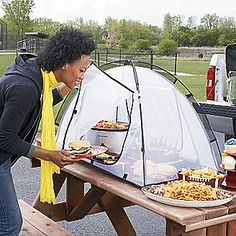 Tailgate Food Tent! Great idea for keeping bugs outta the salsa!