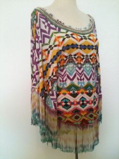Alberto Makali Women's Southwestern Poncho Fringe Western Small Colorful New | eBay