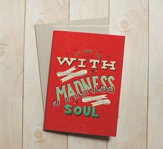 Madness  Hand Lettered A7 Greeting Card by thestuffstephmakes