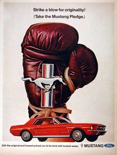 1967 Ford Mustang original vintage advertisement. Photographed in vibrant color with the Pony emblem held by a boxing glove.