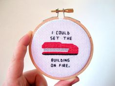 Red Stapler cross stitch I could set the by aliciawatkins on Etsy