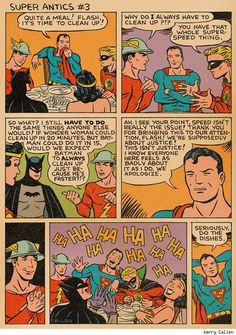 """""""Kerry Callen returns with a new installment of Super Antics, depicting the humorous adventures of the Golden Age Superman and all the hijinks of his wacky universe."""""""