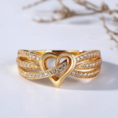 Gold Tone Heart Design Round Cut Sterling Silver Women's Band Jeulia Gold-Tone Heart Design Round Cut Created White Sapphire Women's Wedding Band – Jeulia Jewelry - My Accessories World Gold Ring Designs, Gold Earrings Designs, Gold Jewellery Design, Necklace Designs, Ring Design In Gold, Gold Rings Jewelry, Heart Jewelry, Gold Finger Rings, Gold Heart Ring