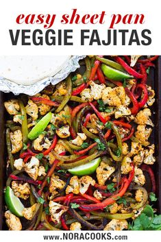 Cauliflower takes the place of meat in these mouthwatering, flavorful vegetarian fajitas. Ready in just 35 minutes. Vegetarian Fajitas, Vegan Fajitas, Vegetarian Mexican Recipes, Quick Vegetarian Dinner, Easy Vegan Dinner, Vegetarian Dinners, Vegan Dinner Recipes, Veggie Recipes, Healthy Recipes