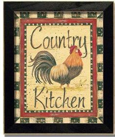 Country Kitchen Rooster Kitchen Decor Art Print Framed