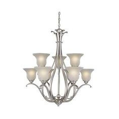 482. Ebay Vaxcel Lighting CH35409BN Monrovia Chandelier In Brushed Nickel