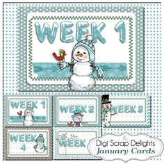 January Sky Blue Snowmen Pocket Cards 3x4 & by DigiScrapDelights