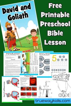 This free printable David and Goliath Preschool lesson is based on 1 Samuel It includes activities, worksheets, games, coloring pages crafts and more. It teaches children that God can use them to do the impossible. Toddler Bible Lessons, Preschool Bible Lessons, Bible For Kids, Primary Lessons, David And Goliath Craft, David Et Goliath, Sunday School Lessons, Bible Crafts, Kids Church