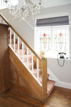 Hallway blinds in Scion plains 'Granite' and Farrow & Ball cornforth white on the walls