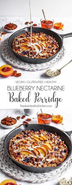 Blueberry Nectarine Baked Porridge Eliza Tan - My list of the best food recipes Desserts Végétaliens, Desserts Sains, Health Desserts, Dessert Recipes, Jewish Desserts, Light Desserts, Brunch Recipes, Dessert Ideas, Gourmet Recipes