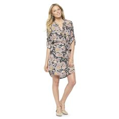 Women's Tie Waist 3/4-Sleeve Shirt Dress w/ Pockets