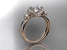 14kt rose gold diamond unique engagement ring,wedding ring ADER146. $1,795.00, via Etsy.