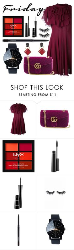 """""""Friday, I'm in love"""" by florasart ❤ liked on Polyvore featuring Giambattista Valli, Gucci, NYX, MAC Cosmetics, Violet Voss and Marni"""