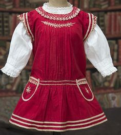 Antique Original French Red Pinafore Dress & Blouse for Jumeau Bru from respectfulbear on Ruby Lane