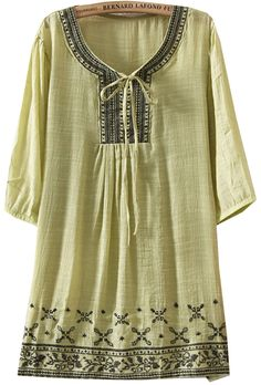 Green Half Sleeve Tribal Embroidered Drawstring Blouse US$28.33