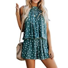 New Gemijack Womens Casual Halter Romper Ploka Dot Lace Trim Outfit Crop Sleeveless Flare Jumpsuit Playsuit online shopping - Thepopbeautiful Rompers Women, Jumpsuits For Women, Prom Dresses With Pockets, Mini Shirt Dress, Playsuit, Ideias Fashion, Casual Outfits, Lace Trim, Flare