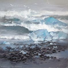 202 отметок «Нравится», 3 комментариев — Olga Abramova (@olga_abramova_art) в Instagram: «Льдины и океан 50х50 Гуашь, пастель  Floes and the Ocean  #pastelpaintings #artpastel #Iceland…»