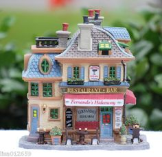 "Lemax Caddington Village Lighted Building ""Fernando'S Hideaway"" Christmas In The City, Christmas Post, Christmas Village Display, Christmas Villages, Ginger House, Santa's Village, Clay Houses, Light Building, Mini Gardens"