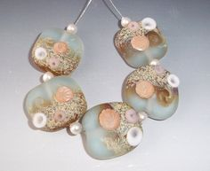 SANDY BEACHES - Etched Set of Lampwork Beads - Aqua Tan Sand Peach - Majestic Glass sra. $40.00, via Etsy.