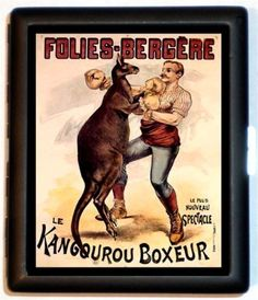 Vintage Poster Imagery of Man Boxing Kangaroo Retro Kitsch Cigarette Case or ID Holder or Business Card Case Wallet or MP3 Holder on Etsy, $9.99