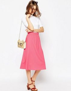 Discover midi skirts with ASOS. Shop from a range of pleated, A-line skirts, calf length skirts and other midi skirt styles. Shop today at ASOS. Pink Midi Skirt, Full Midi Skirt, Dress Skirt, Jupe Midi Rose, A Line Skirts, Mini Skirts, Asos, Calf Length Skirts, Holiday Outfits