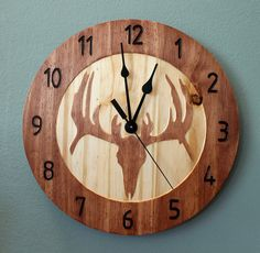 Deer skull clock Wood clock Nature clock by BunBunWoodworking