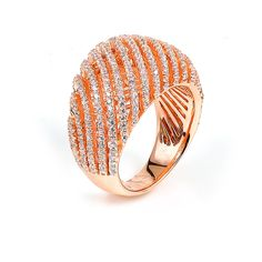 Sterling silver micro-pave Cubic Zirconia ring with rose gold plating: Rings