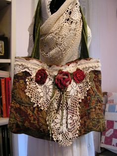 Tapestry Bag granny bag tattered lace quaint ♥ by GrandmaDede