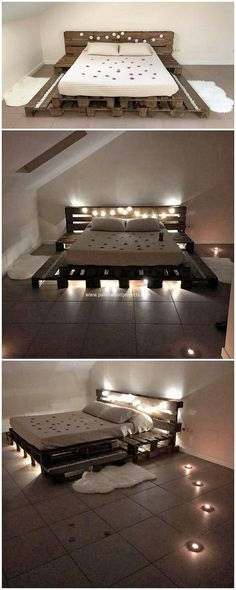 Talking about next creation, we have the awesome designed wood pallet bed framing for you. The major attractive part of this wood pallet bed frame structure is that it do add up the taste of lightening effect in it that makes it look so much awesome. Pallet Bedframe, Wooden Pallet Beds, Diy Pallet Bed, Wood Pallet Furniture, Diy Pallet Projects, Bed Furniture, Wood Pallets, Pallet Ideas, Furniture Ideas