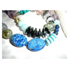 CHUNKY GEMSTONE Necklace, Handcrafted Chunky Beaded Gemstone Necklace,... ❤ liked on Polyvore featuring jewelry, necklaces, silver bead necklace, turquoise necklace, jade bead necklace, chunky necklaces and blue necklace