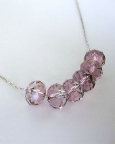 Antique Pink Swarovski Crystal Sterling Silver Floating Carrie Necklace - by GlamGirlCreations