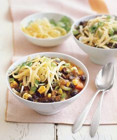 Southwestern Beef Chili With Corn | Need some quick dinner ideas? Try one of these speedy recipes that take just 15 minutes or less of hands-on work.