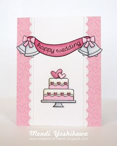 Lawn Fawn - Happy Wedding, Bannerific, Stitched Scalloped Borders, Stitched Borders _ lovely card by Mendi via Lawn Fawn Blog