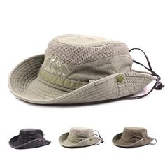 9f69a8ae48a Mens Summer Cotton Embroidery Visor Bucket Hats Outdoor Hats