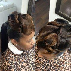 50 Best Very Beautiful Wavy Vintage Hairstyles for Black Women Hair Ideas Black Hair Updo Hairstyles, Black Girls Hairstyles, Wedding Hairstyles, Birthday Hairstyles, Classy Hairstyles, Woman Hairstyles, 90s Hairstyles, Protective Hairstyles, Vintage Hairstyles