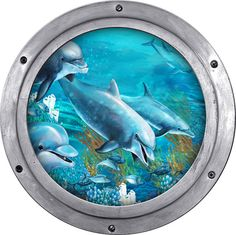 Dolphins and coral reef view from a porthole. is a repositionable peel & stick fabric material with an adhesive back. can be installed on virtually