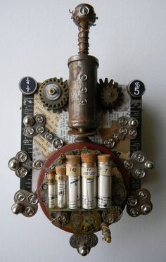 "aidan Recycled Art Collage  -  ""Steampunk Bug""   -  Original Mixed Media. $95.00, via Etsy."