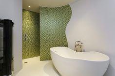 Masterbathroom at St Johns Hall complete with bathtub and aluminium tiles and Bed City, Freestanding Bathtub, Master Bathroom, Interior Architecture, Tiles, Design, Freestanding Tub, Room Tiles, Master Bath