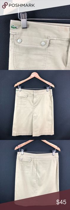 "⭐️🆕[LaCoste] Khaki Skirt New never appear won.  Length Approx. (Measured from top to hem): 22"" Width Approx. (Measured laying flat across waistband): 16""  🛍Bundle - save 💵 - Get a possible discount - All your Rox4You 🛍 will be mailed together - 1️⃣📦charge - (ONLY in ""bundle"")  🚫No Trades - I work for 1️⃣ client, selling her fabulous retired designer wardrobe Lacoste Skirts Midi"