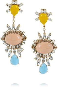 Bijoux Heart|Gold-plated Swarovski crystal, glass and resin earrings|NET-A-PORTER.COM