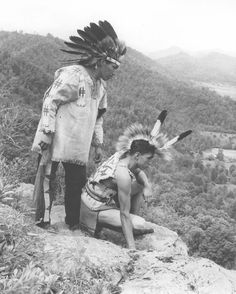 Cherokee Indian Archive images | 14639 Two Cherokee Indians in traditional costume, posed in profile ...