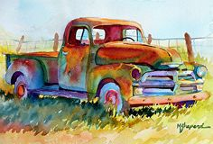 """LEFT TO RUST by Mary Shepard Watercolor ~ Image size:  7.5"""" x 11.5"""" unframed"""