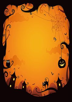 Vector Halloween greeting card template old tree with pumpkin, owl and cat sitting on it in background hunted castle showing in graveyard or. Halloween Tags, Halloween Designs, Halloween Prop, Halloween Borders, Halloween Vector, Halloween Poster, Halloween Horror, Fall Halloween, Halloween Crafts