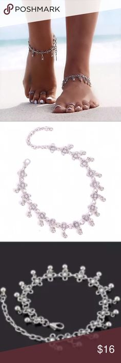 "Charming Anklet Cute flower design anklet with ball charms. 9""L with 2 1/2"" extender. <price is for one anklet only> 🌸 Beauty Shines On Jewelry"