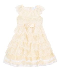 6163061e05 Ivory Tiered Lace Cap-Sleeve Dress - Girls  zulily  zulilyfinds Kids Outfits  Girls