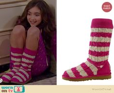 Riley's pink striped boots on Girl Meets World.  Outfit Details: http://wornontv.net/37594/ #GirlMeetsWorld