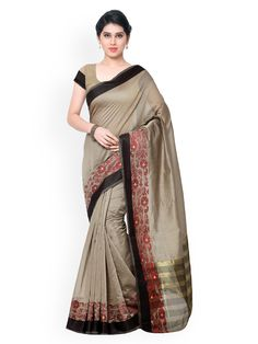 Misty grey and black saree with blouse. Paired with the matching blouse piece. The first wash of the garment shou Grey Saree, Black Saree, Party Wear Sarees, Embroidered Silk, Silk Sarees, Lehenga, Blouse Designs, Sari, How To Wear