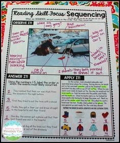 Pictures to Teach Reading and Writing Skills Teaching sequencing (and 6 other reading skills) using a scaffolded approach.Teaching sequencing (and 6 other reading skills) using a scaffolded approach. Reading Lessons, Reading Strategies, Reading Activities, Reading Skills, Writing Skills, Teaching Reading, Guided Reading, Close Reading, Comprehension Strategies