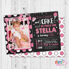 Girls First Birthday Invitation, Minnie Mouse 1st Birthday Invitation with Photo, Oh Toodles, Minnie Mouse First Birthday Invite Download by ThePartyStork on Etsy Minnie Mouse Birthday Invitations, Minnie Mouse First Birthday, Mickey Mouse Invitation, Little Girl Birthday, Digital Invitations, First Birthdays, Invite, Girls, Etsy